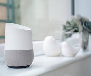 smart home speaker on windowsill in conservatory