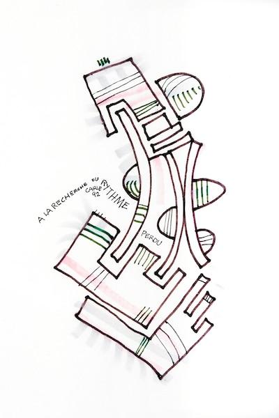 <b><i>À la recherche du RYTHME perdu</b></i><br /> <b>1992 - 11''x8''</b><br /> Élève de l'École des beaux-arts, puis de l'École des arts graphiques de Montréal, Gilles Carle amorça sa carrière en 1955 à Radio-Canada comme graphiste, avant de joindre l'ONF en 1960. Cet amour du graphisme se traduit à travers les traits vifs de ses dessins.