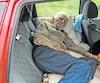 Yves Potvin montre comment il s'installe pour dormir sur la banquette arrière de sa voiture avec un petit coussin et un oreiller.