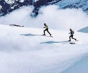 Dans les Alpes, à Chamonix en2016, alors qu'il en était à sa première année comme cuisinier à la mine Raglan.