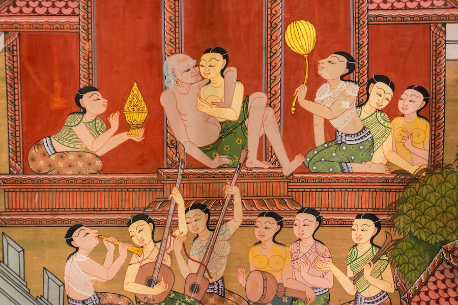 An ancient art of Thai harem in medieval times of Siam