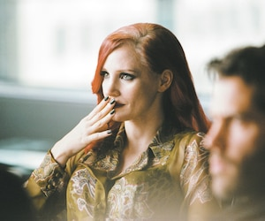 Jessica Chastain sur la plateau du film <i>The Death and Live of John F. Donovan</i>.
