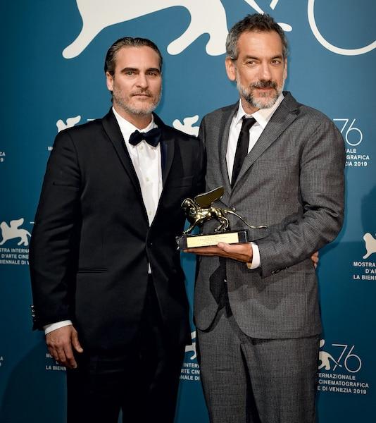 Joaquin avec le réalisateur de Joker, Todd Phillips, à la Mostra de Venise.