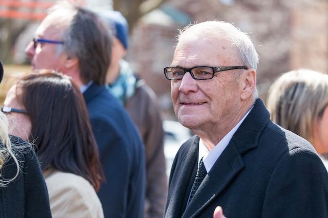 Funérailles à la mémoire de Monsieur Jean Lapierre et de Madame Nicole Beaulieu à l'église St-Viateur d'Outremont à Montréal, le samedi 16 avril 2016. Sur la photo: Claude Poirier. TOMA ICZKOVITS/AGENCE QMI