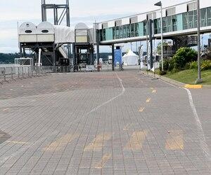 L'ancienne piste cyclable est toujours visible sur les quais du port. Cela a causé des frictions entre des cyclistes et des piétons venus admirer les grands voiliers.