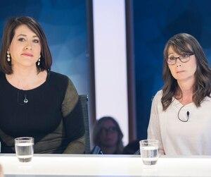 La journaliste Marie-Claude Malboeuf, qui a écrit sur le dossier des pitbulls, et Lise Vadnais, la sœur de la victime.