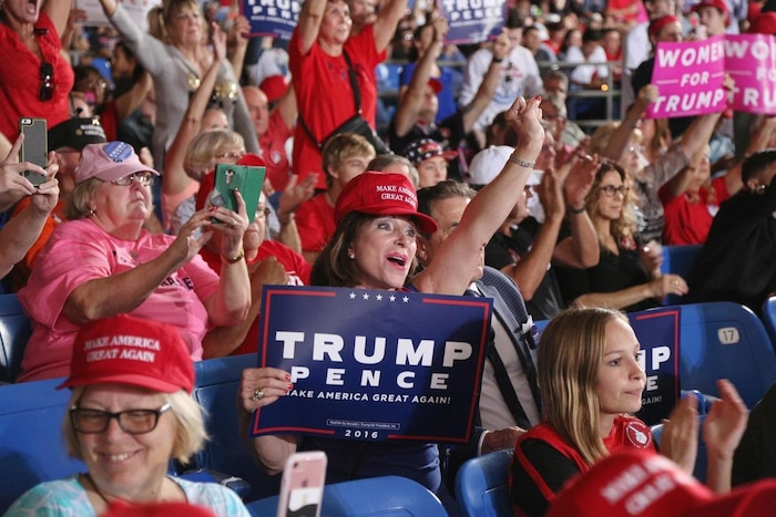 Republican presidential nominee Donald Trump at a campaign stop in Tampa, Florida