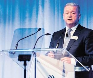 Malgré les nombreux ratés de 2018, le conseil d'administration de SNC-Lavalin a senti le besoin de «réitérer sa confiance» en l'équipe de direction, menée par le PDG, Neil Bruce. Ici, lors de l'assemblée générale de la firme, à Montréal, le 3 mai dernier.