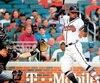La sensation des Braves, Ronald Acuna fils, a été atteint sur le premier tir du lanceur Jose Urena, des Marlins, mercredi dernier.