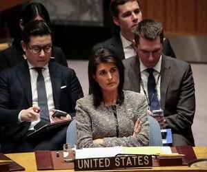L'ambassadrice des États-Unis aux Nations Unies, Nikki Haley, lors d'une réunion d'urgence tenue à New York le 29 novembre.