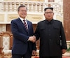 Le président sud-coréen Moon Jae-in, et le leader nord-coréen Kim Jong Un, lors du sommet entre les deux dirigeants à Pyongyang.