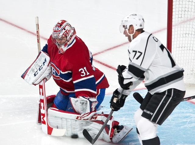 Un arrêt de Carey Price en première période lors du match opposant les Kings de Los Angeles et le Canadien de Montréal au centre Bell.