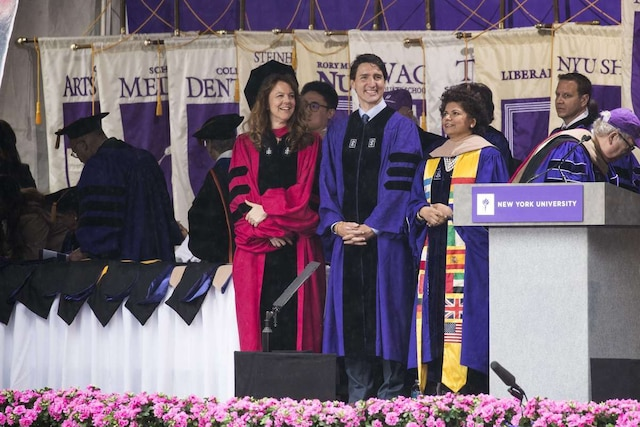 NEW YORK, NY - MAY 16: Canadian Prime Minister Justin Trudeau arrives onstage for New York University's commencement ceremony at Yankee Stadium, May 16, 2018 in the Bronx borough of New York City. Trudeau, who was honored with a honorary doctor of laws degree, is delivering a commencement address to the graduating class of 2018.   Drew Angerer/Getty Images/AFP == FOR NEWSPAPERS, INTERNET, TELCOS & TELEVISION USE ONLY ==