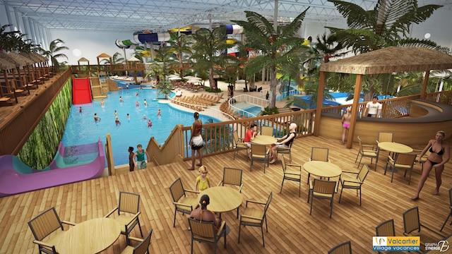 Le village vacances valcartier construira un parc for Glissade d eau interieur
