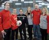 Jean-Philippe Lévesque, Heikel Jarras, Samir Ghrib, Myriame Labrecque, Helder Duarte et Audrey-Anne Coughlan ont lancé les activités 2019 de la saison hivernale du Rouge et Or soccer, jeudi.