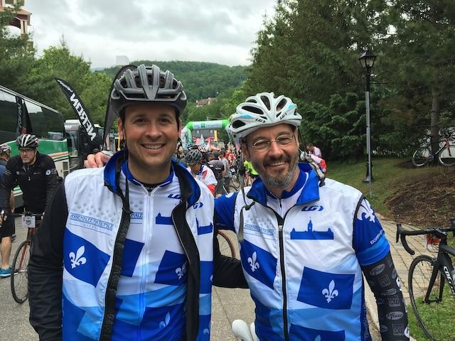 Alexandre Cloutier et Sylvain Pagé de passage à Mont-Tremblant lors de la 8e étape du Grand défi Pierre Lavoie du 1000km, à Mont-Tremblant, samedi le 17 juin 2017.
