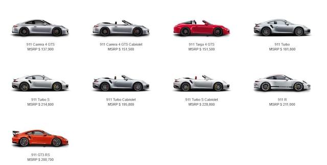 Les prix varient de 102 200$ pour la Carrera à 200 700$ pour la GT3 RS.
