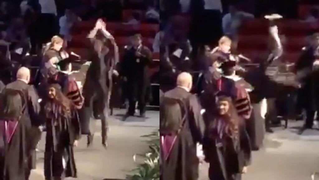 [VIDÉO] Un idiot tente un «backflip» pendant sa remise des diplômes et se pète la face devant des centaines de personnes