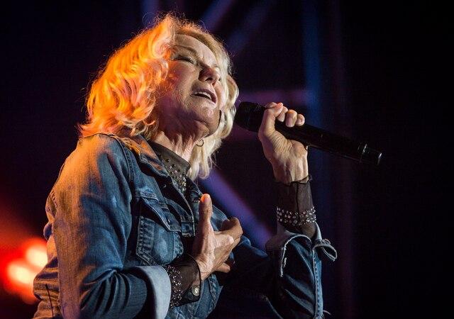 Marjo en spectacle dans le cadre des Francofolies sur la scène Bell de la Place des Festivals, à Montréal, Québec, Canada, le mercredi 13 juin 2018