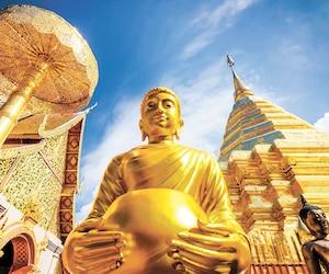 Le temple Doi Suthep, les sanctuaires et les statues de Bouddha