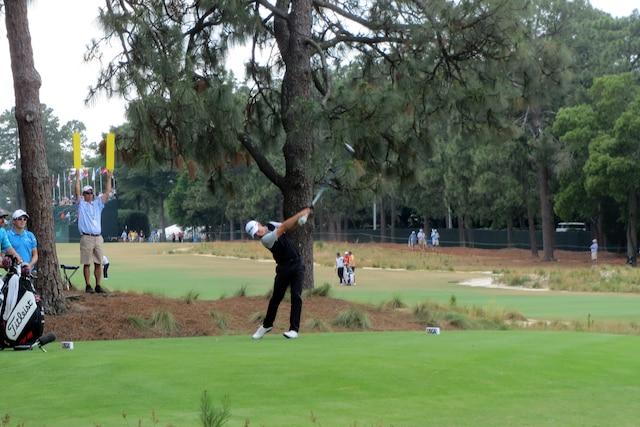 Au départ du 16etrou, lors du championnat de l'US Open à Pinehurst.