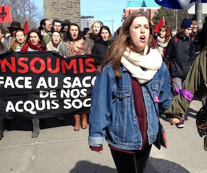 Malgré sa blessure et les moqueries dans les réseaux sociaux, Naomie Tremblay-Trudeau compte participer aux prochaines manifestations contre l'austérité.