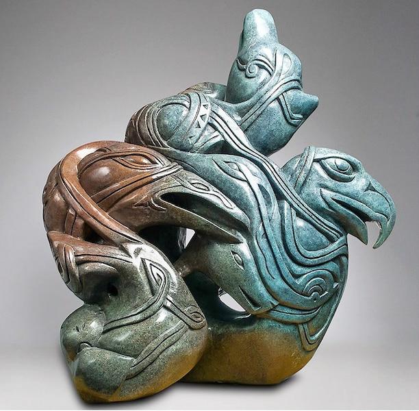 Les transformations d'Odin, 2012<br /> 93 x 92 x 53 cm, bronze<br /> Une des quinze sculptures de l'exposition qui sont toutes accompagnées de leur dessin préparatoire.