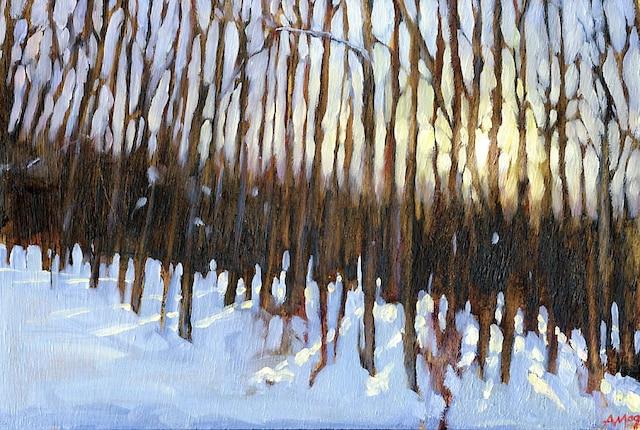 Dans ma cour (2009)<br /> Huile sur bois 12'' x8''<br />  Grâce aux tableaux et aux mots, trois hommes, un peintre, un médecin et un biologiste, font l'éloge des arbres.