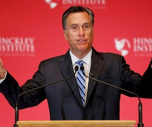 Former Republican U.S. presidential nominee Mitt Romney speaks critically about current Republican presidential candidate Donald Trump during speech in Salt Lake City