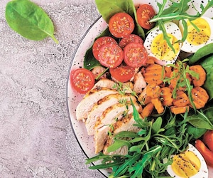 Plate with a keto diet food. Cherry tomatoes, chicken breast, eggs, carrot, salad with arugula and spinach. Keto lunch. Banner. Top view