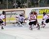 Le Titan d'Acadie-Bathurst re�oit les Remparts de Qu�bec lors du match no.1 des s�ries �liminatoires de la Ligue de hockey junior majeur du Qu�bec (LHJMQ), au Centre r�gional K.C. Irving, � Bathurst, Nouveau-Brunswick, Canada. Le vendredi 24 mars 2017 Sur cette photo: But du #13 Adam Holwell sur le gardien #1 Evgeny Kisselev DANIEL DOUCET/AGENCE QMI