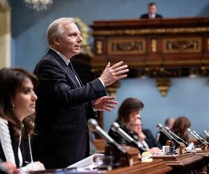 Le chef du Parti québécois, Jean-François Lisée, lors de la période des questions à l'Assemblée nationale, mardi.