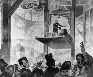 Elisha Graves Otis faisant la démonstration de son premier ascenseur muni du «frein-parachute» au Crystal Palace de New York en 1853.