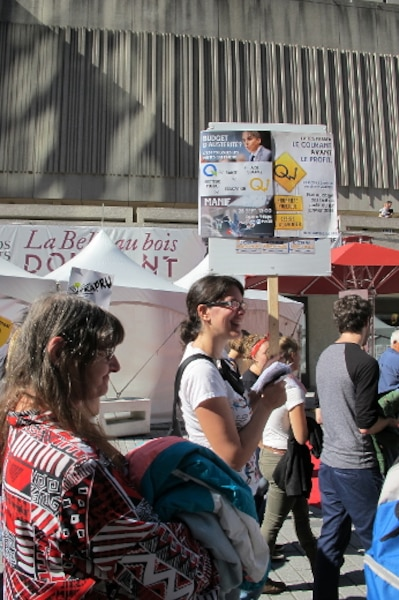 Une manifestation contre les hausses de tarifs d'Hydro-Québec et les mesures d'austérité a eu lieu à Montréal le 28 septembre 2013.