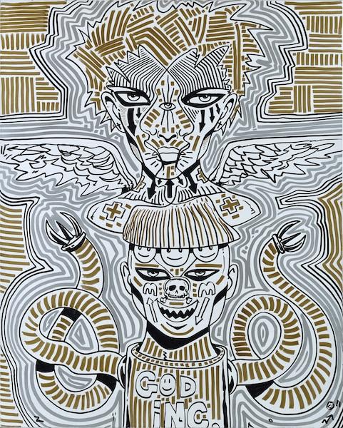Hallucination #22, Acrylique et feutre à l'huile sur toile.