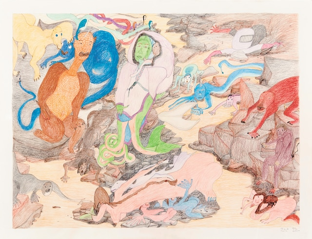 <b><i>Composition (Creatures)</i></b><br /> <b>2015, encre et crayon de couleur, 96,5x127cm</b><br /> Les œuvres d'Ashoona conjuguent souvent le réel et l'imaginaire. Collection particulière. Oeuvre de Shuvinai Ashoona.