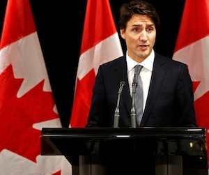 Canadian Prime Minister Justin Trudeau speaks about Saskatchewan school shooting during a news conference in Davos