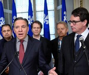Les chefs de la Coalition avenir Québec et du Parti québécois, François Legault et Pierre Karl Péladeau