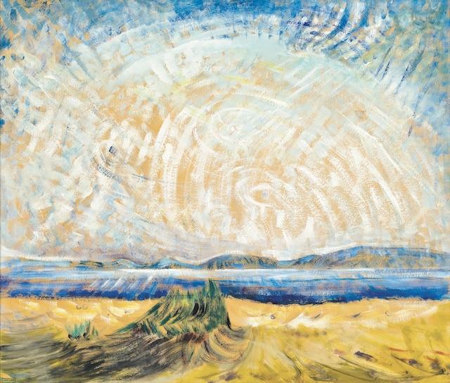 <b><i>Strait of Juan de Fuca</i></b><br /> <b>1932-1936 - Huile sur papier - 61 x 72cm</b><br /> Don de M. et MmeMax Stern. Réalisé par Emily Carr.