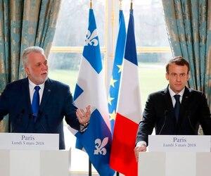 Le premier ministre du Québec, Philippe Couillard, et le président de la France, Emmanuel Macron