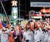 Les joueurs et membres de l'organisation des Nationals de Washington célébrant le premier championnat de l'histoire de la concession, mercredi soir au Minute Maid Park, à Houston.