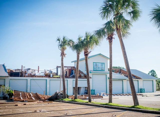 A destroyed storage unit for a hotel in Panama City Beach, Florida, in the aftermath of Hurricane Michael on October 11, 2018. - Residents of the Florida Panhandle woke to scenes of devastation Thursday after Michael tore a path through the coastal region as a powerful hurricane that killed at least two people. (Photo by Emily KASK / AFP)