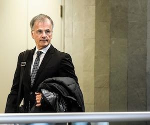 Le député libéral Guy Ouellette au palais de justice de Québec le 1erfévrier dernier.
