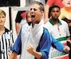 Le Français Dilan Rocher lors de la finale du Championnat mondial de pétanque qui opposait son pays au Maroc.