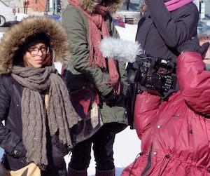 Luc Côté et Patricio Henriquez étaient présents pour capter les images de la 10e vigile pour Raïf Badawi à Sherbrooke.