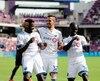 Orji Okwonkwo a célébré en compagnie de Maximiliano Urruti, Michael Azira et Samuel Piette, après avoir inscrit son premier but dans la MLS.
