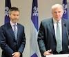 Le nouveau PDG d'Investissement Québec Guy LeBlanc et le ministre PierreFitzgibbon, lors de l'annonce de la nomination de ce dernier, qui ne correspond pas à la définition du «petit ami».
