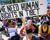 Une manifestation de soutien au Tibet en Suisse.