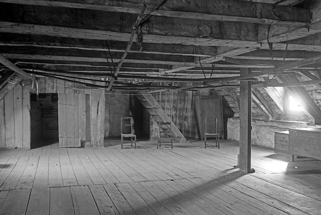La maison Saint-Gabriel était purement fonctionnelle. Voici une photo du vaste premier grenier.