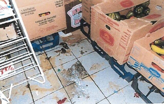 «De vieilles boîtes de cartons souillées parsemaient le plancher et une forte odeur s'en dégageait.»